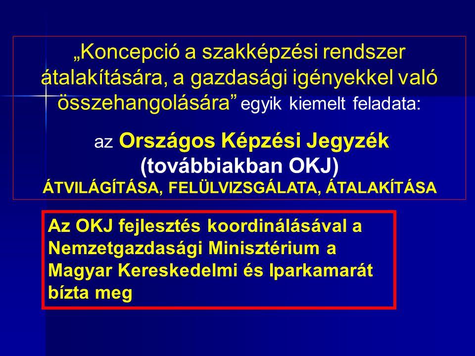"""Az OKJ fejlesztés koordinálásával a Nemzetgazdasági Minisztérium a Magyar Kereskedelmi és Iparkamarát bízta meg """"Koncepció a szakképzési rendszer átalakítására, a gazdasági igényekkel való összehangolására egyik kiemelt feladata: az Országos Képzési Jegyzék (továbbiakban OKJ) ÁTVILÁGÍTÁSA, FELÜLVIZSGÁLATA, ÁTALAKÍTÁSA"""