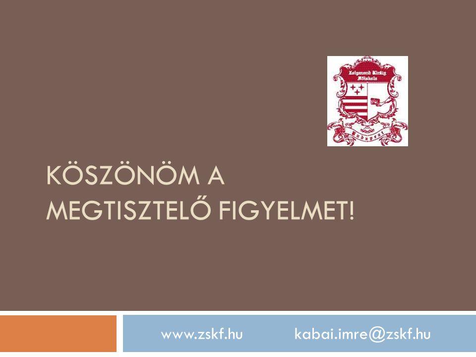 KÖSZÖNÖM A MEGTISZTELŐ FIGYELMET! www.zskf.hu kabai.imre@zskf.hu