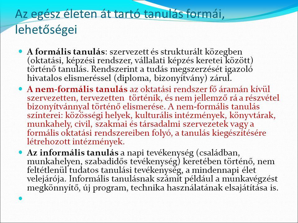 Programfejlesztés a nem formális tanulás keretei között Alapkövetelmények: 1.
