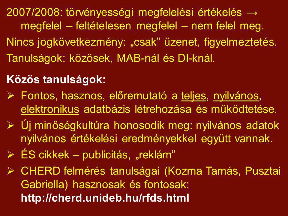 """2007/2008: törvényességi megfelelési értékelés → megfelel – feltételesen megfelel – nem felel meg. Nincs jogkövetkezmény: """"csak"""" üzenet, figyelmezteté"""