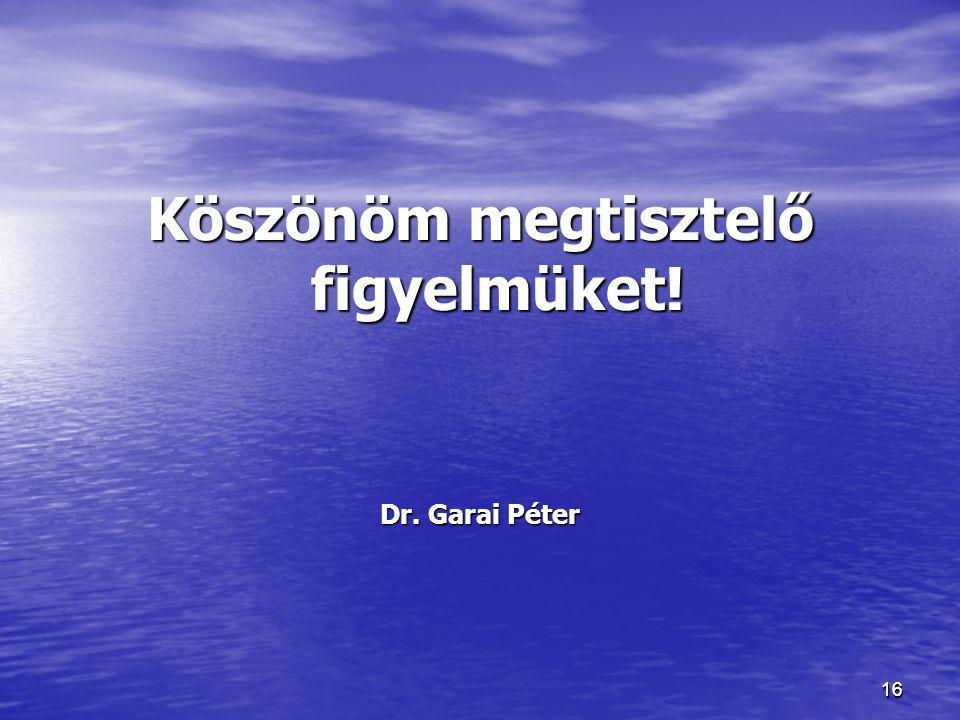 1616 Köszönöm megtisztelő figyelmüket! Dr. Garai Péter