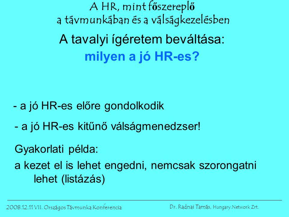 2008.12.11 VII.Országos Távmunka Konferencia Dr. Radnai Tamás, Hungary.Network Zrt.