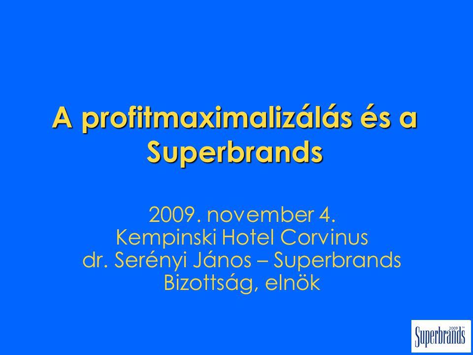 A profitmaximalizálás és a Superbrands 2009. november 4.