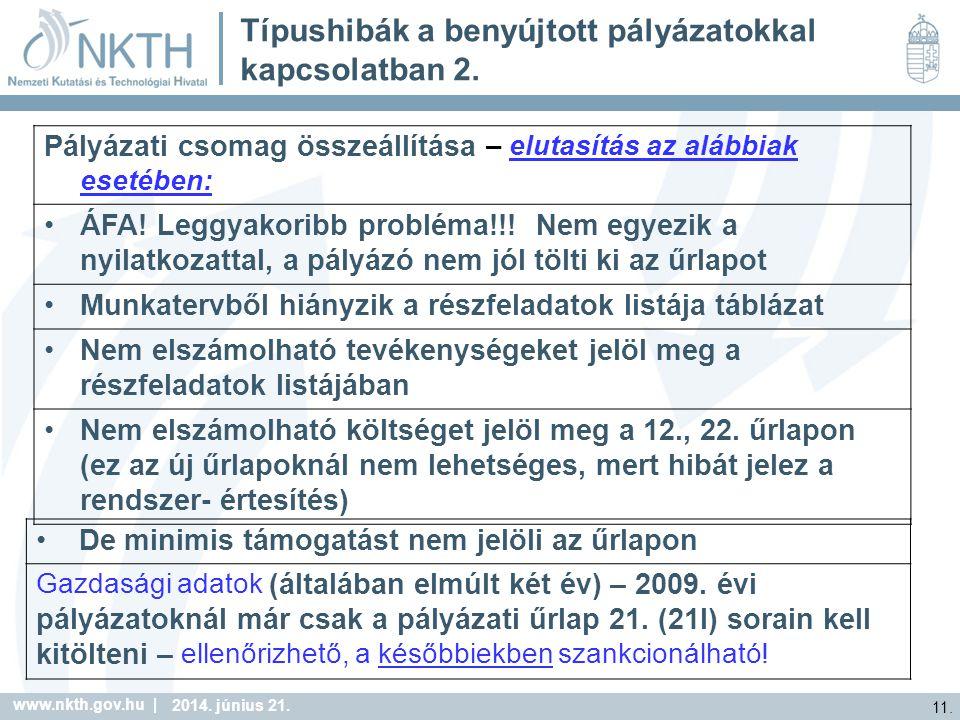 www.nkth.gov.hu | 11. 2014. június 21. Típushibák a benyújtott pályázatokkal kapcsolatban 2.