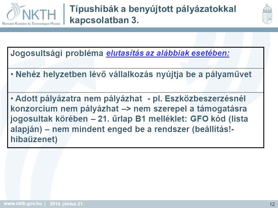 www.nkth.gov.hu | 12. 2014. június 21. Típushibák a benyújtott pályázatokkal kapcsolatban 3.