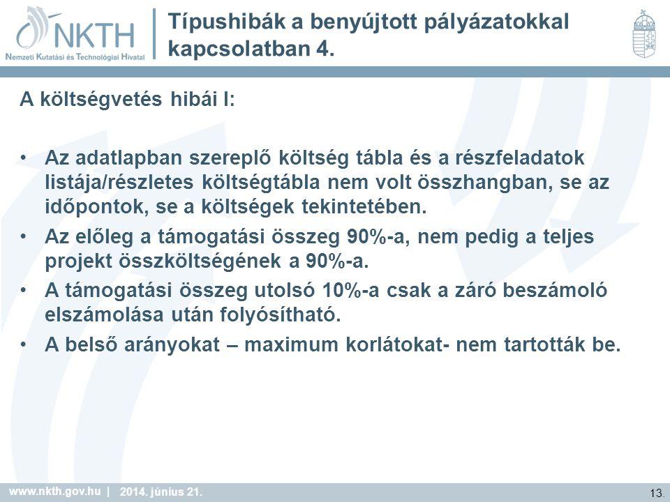 www.nkth.gov.hu | 13. 2014. június 21. Típushibák a benyújtott pályázatokkal kapcsolatban 4.