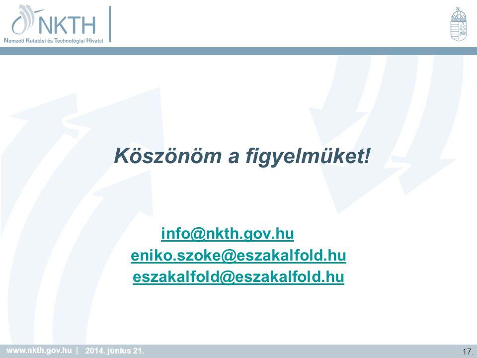 www.nkth.gov.hu | 17. 2014. június 21. Köszönöm a figyelmüket.