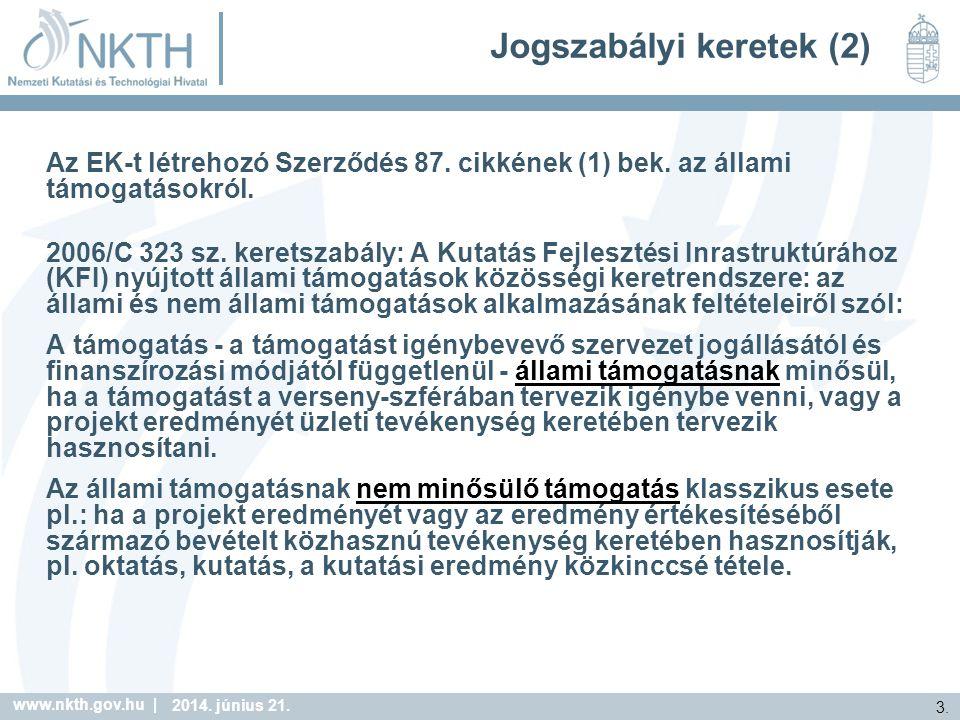 www.nkth.gov.hu | 3. 2014. június 21. Jogszabályi keretek (2) Az EK-t létrehozó Szerződés 87.