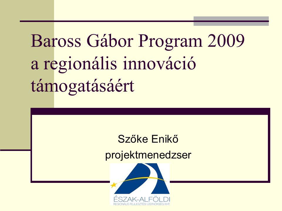 Baross Gábor Program 2009 a regionális innováció támogatásáért Szőke Enikő projektmenedzser