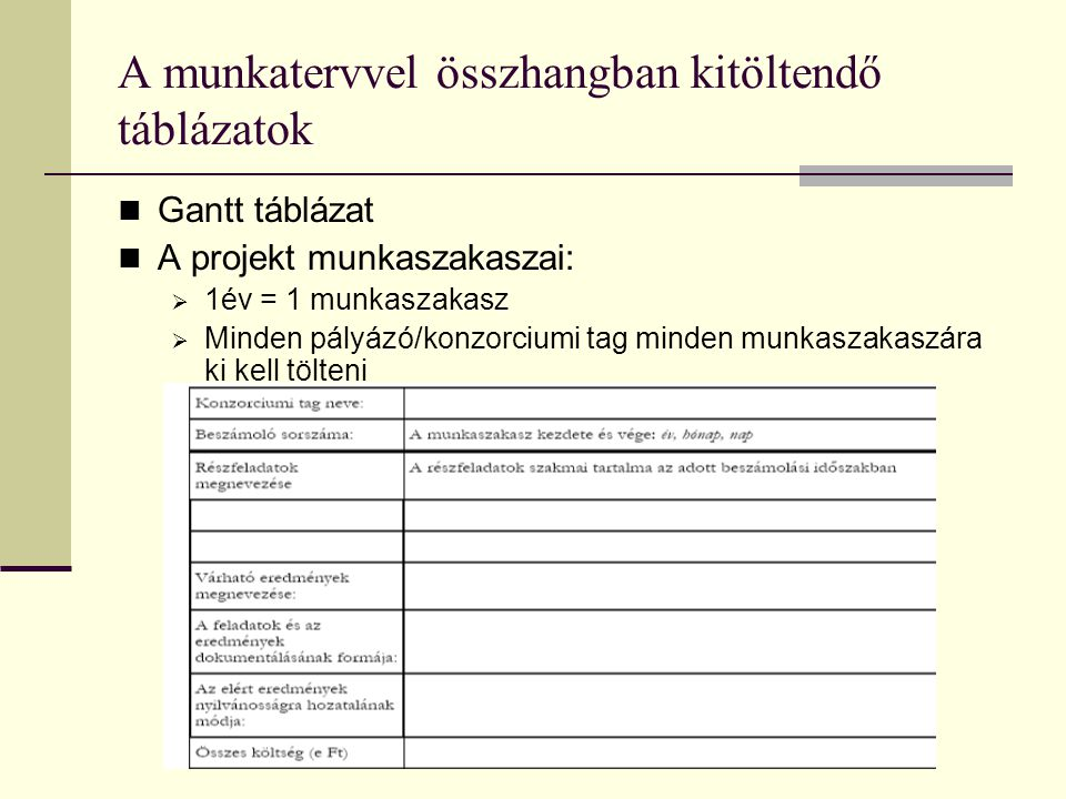 A munkatervvel összhangban kitöltendő táblázatok  Gantt táblázat  A projekt munkaszakaszai:  1év = 1 munkaszakasz  Minden pályázó/konzorciumi tag