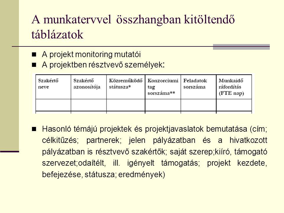 A munkatervvel összhangban kitöltendő táblázatok  A projekt monitoring mutatói  A projektben résztvevő személyek :  Hasonló témájú projektek és pro