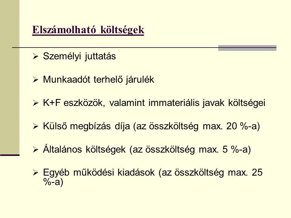 Elszámolható költségek  Személyi juttatás  Munkaadót terhelő járulék  K+F eszközök, valamint immateriális javak költségei  Külső megbízás díja (az
