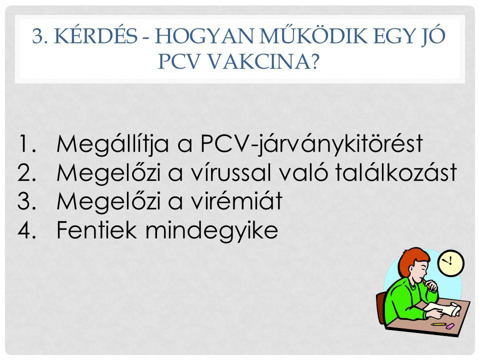 3. KÉRDÉS - HOGYAN MŰKÖDIK EGY JÓ PCV VAKCINA? 1.Megállítja a PCV-járványkitörést 2.Megelőzi a vírussal való találkozást 3.Megelőzi a virémiát 4.Fenti