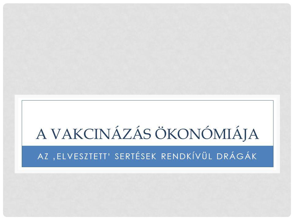 A VAKCINÁZÁS ÖKONÓMIÁJA AZ 'ELVESZTETT' SERTÉSEK RENDKÍVÜL DRÁGÁK