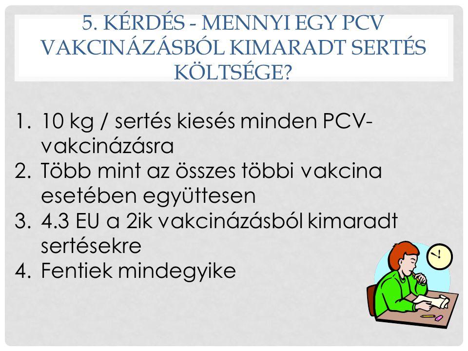 5. KÉRDÉS - MENNYI EGY PCV VAKCINÁZÁSBÓL KIMARADT SERTÉS KÖLTSÉGE? 1.10 kg / sertés kiesés minden PCV- vakcinázásra 2.Több mint az összes többi vakcin