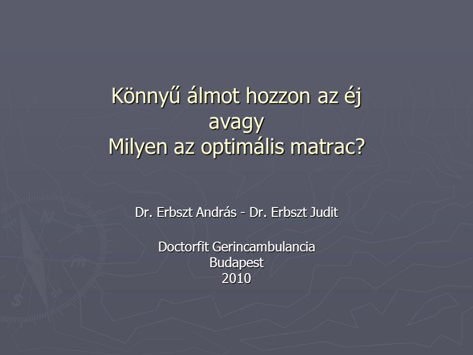 Könnyű álmot hozzon az éj avagy Milyen az optimális matrac? Dr. Erbszt András - Dr. Erbszt Judit Doctorfit Gerincambulancia Budapest 2010