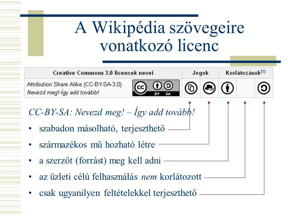 CC-BY-SA: Nevezd meg! – Így add tovább! •szabadon másolható, terjeszthető •származékos mű hozható létre •a szerzőt (forrást) meg kell adni •az üzleti