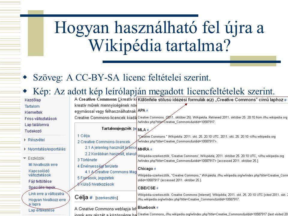 Hogyan használható fel újra a Wikipédia tartalma?  Szöveg: A CC-BY-SA licenc feltételei szerint.  Kép: Az adott kép leírólapján megadott licencfelté