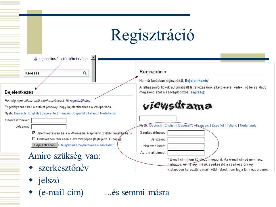 Regisztráció Amire szükség van:  szerkesztőnév  jelszó  (e-mail cím)...és semmi másra