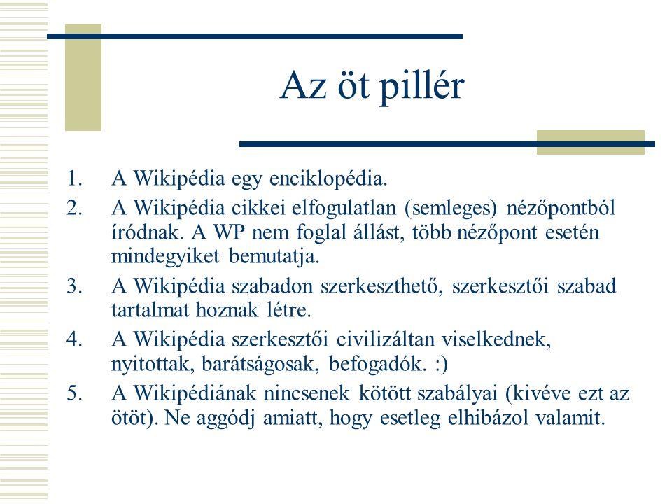 Az öt pillér 1.A Wikipédia egy enciklopédia. 2.A Wikipédia cikkei elfogulatlan (semleges) nézőpontból íródnak. A WP nem foglal állást, több nézőpont e