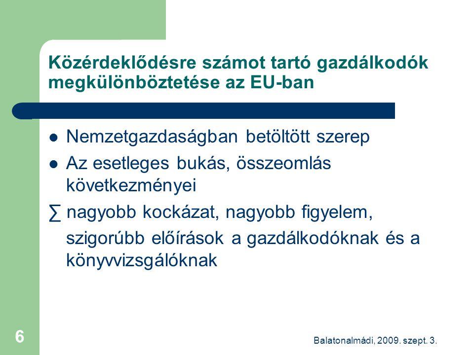 Balatonalmádi, 2009.szept. 3. 17 Új minőség-ellenőrzés a közérdeklődésűek könyvvizsgálóinál.