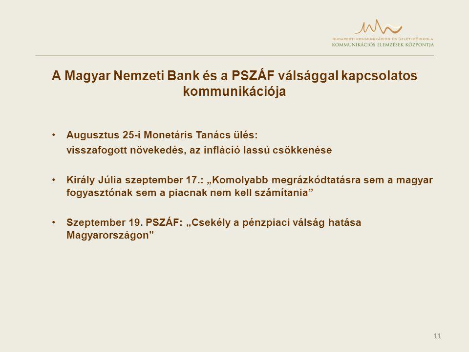 """11 A Magyar Nemzeti Bank és a PSZÁF válsággal kapcsolatos kommunikációja •Augusztus 25-i Monetáris Tanács ülés: visszafogott növekedés, az infláció lassú csökkenése •Király Júlia szeptember 17.: """"Komolyabb megrázkódtatásra sem a magyar fogyasztónak sem a piacnak nem kell számítania •Szeptember 19."""