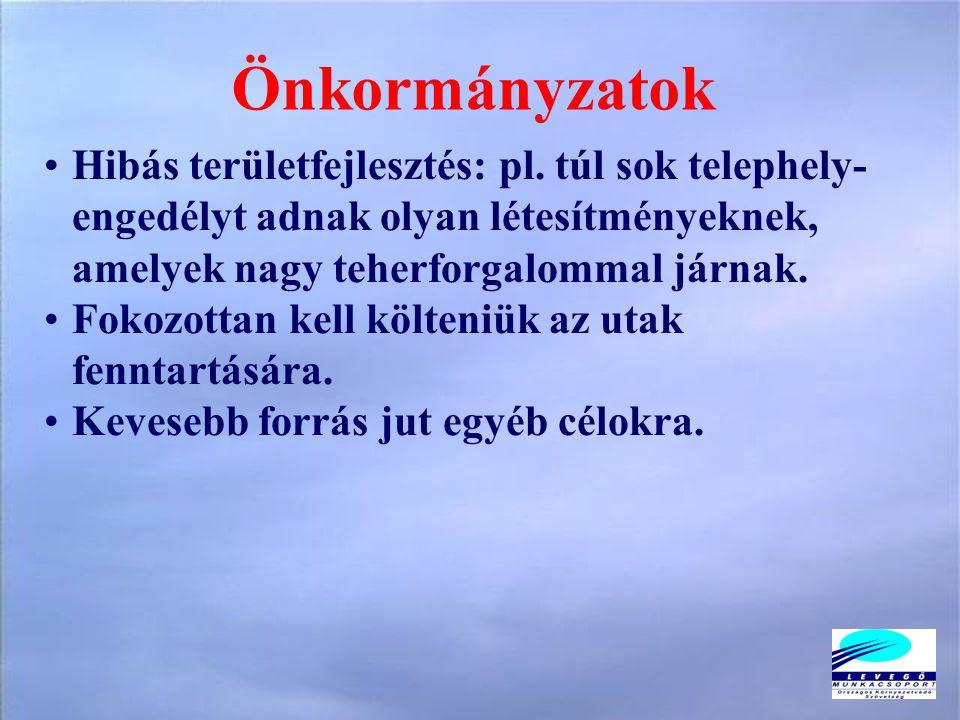 Önkormányzatok •Hibás területfejlesztés: pl.