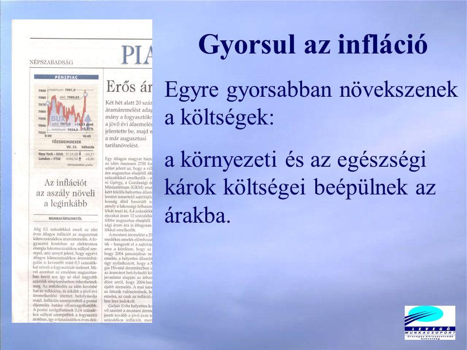Gyorsul az infláció Egyre gyorsabban növekszenek a költségek: a környezeti és az egészségi károk költségei beépülnek az árakba.