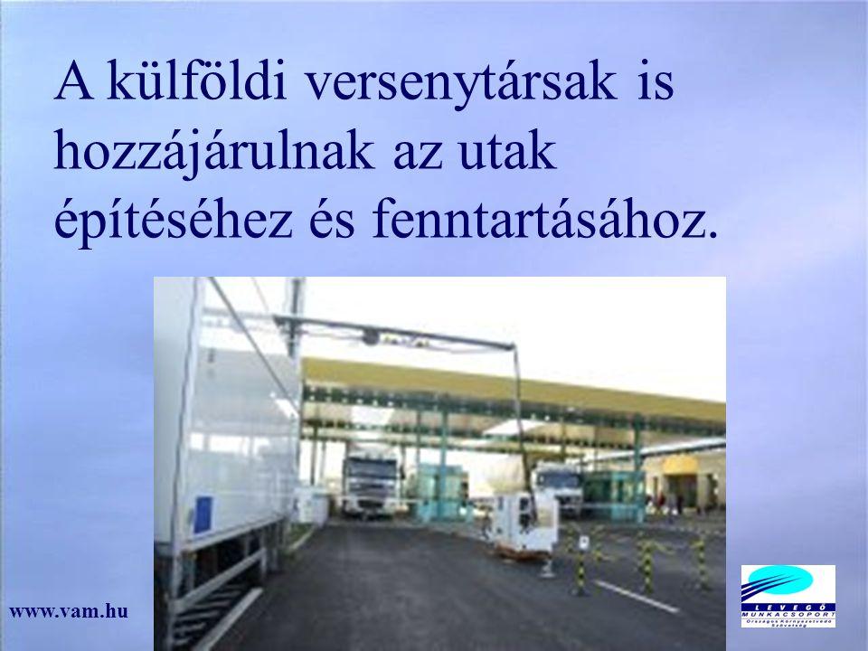 A külföldi versenytársak is hozzájárulnak az utak építéséhez és fenntartásához. www.vam.hu