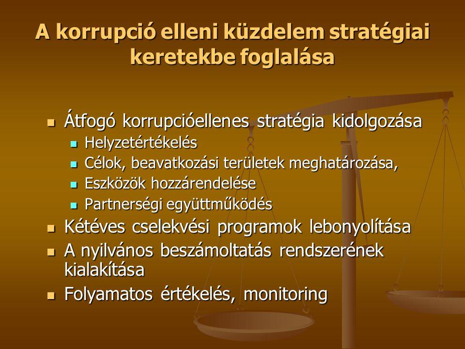 A korrupció elleni küzdelem stratégiai keretekbe foglalása  Átfogó korrupcióellenes stratégia kidolgozása  Helyzetértékelés  Célok, beavatkozási területek meghatározása,  Eszközök hozzárendelése  Partnerségi együttműködés  Kétéves cselekvési programok lebonyolítása  A nyilvános beszámoltatás rendszerének kialakítása  Folyamatos értékelés, monitoring