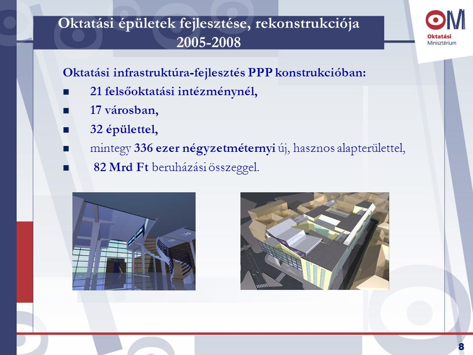 8 Oktatási épületek fejlesztése, rekonstrukciója 2005-2008 Oktatási infrastruktúra-fejlesztés PPP konstrukcióban: n 21 felsőoktatási intézménynél, n 17 városban, n 32 épülettel, n mintegy 336 ezer négyzetméternyi új, hasznos alapterülettel, n 82 Mrd Ft beruházási összeggel.