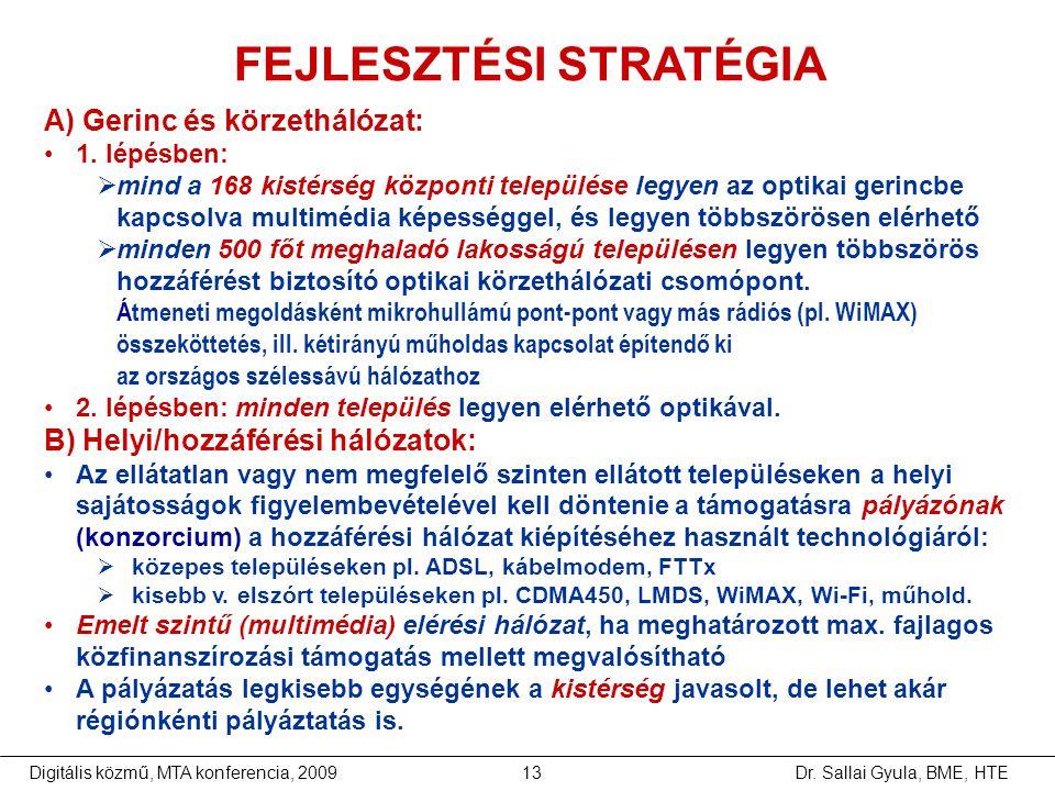 Dr. Sallai Gyula, BME, HTEDigitális közmű, MTA konferencia, 200913 A) Gerinc és körzethálózat: •1. lépésben:  mind a 168 kistérség központi település