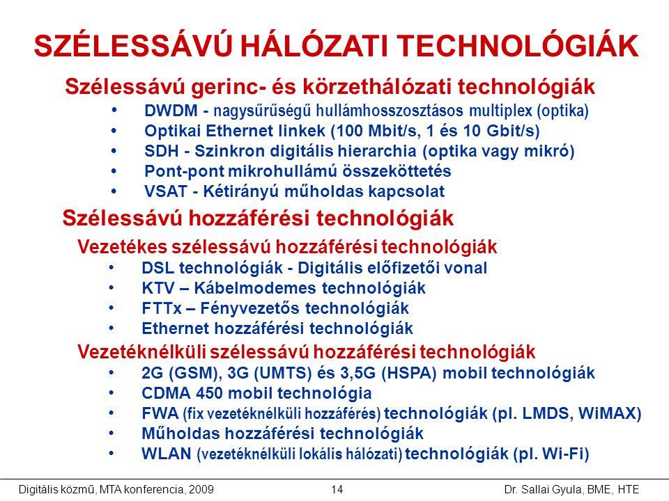 Dr. Sallai Gyula, BME, HTEDigitális közmű, MTA konferencia, 200914 SZÉLESSÁVÚ HÁLÓZATI TECHNOLÓGIÁK Szélessávú gerinc- és körzethálózati technológiák