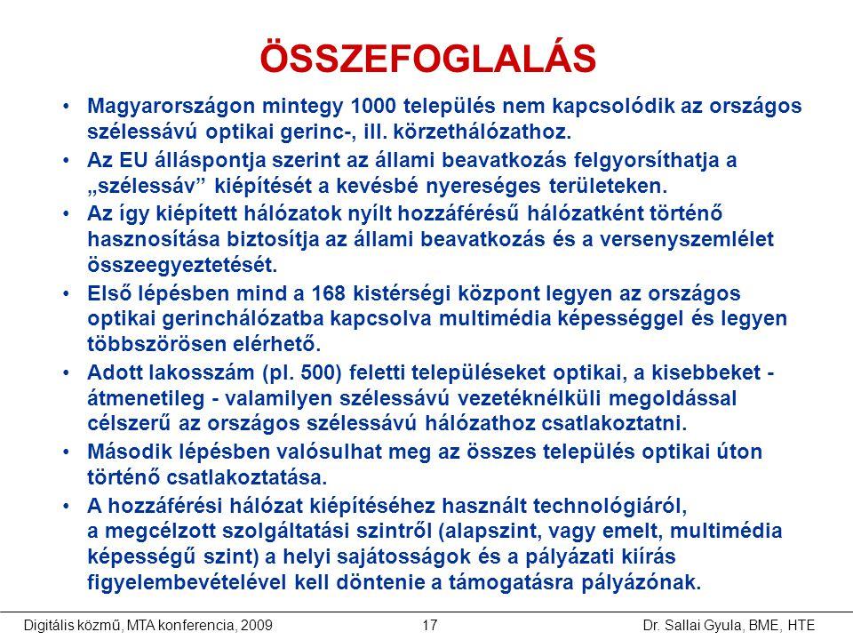 Dr. Sallai Gyula, BME, HTEDigitális közmű, MTA konferencia, 200917 •Magyarországon mintegy 1000 település nem kapcsolódik az országos szélessávú optik