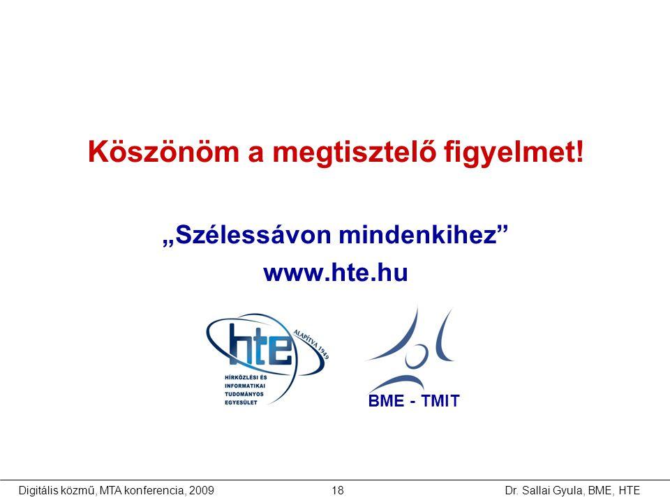 """Dr. Sallai Gyula, BME, HTEDigitális közmű, MTA konferencia, 200918 Köszönöm a megtisztelő figyelmet! """"Szélessávon mindenkihez"""" www.hte.hu BME - TMIT"""
