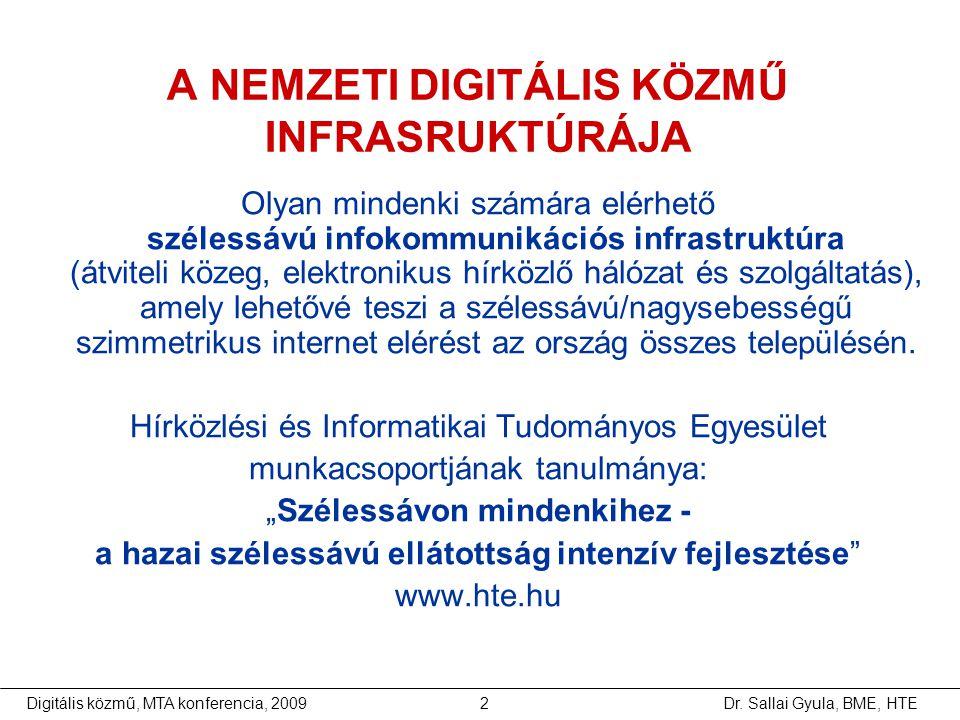 Dr. Sallai Gyula, BME, HTEDigitális közmű, MTA konferencia, 20092 A NEMZETI DIGITÁLIS KÖZMŰ INFRASRUKTÚRÁJA Olyan mindenki számára elérhető szélessávú