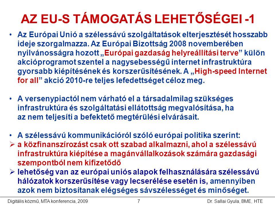 Dr. Sallai Gyula, BME, HTEDigitális közmű, MTA konferencia, 20097 •Az Európai Unió a szélessávú szolgáltatások elterjesztését hosszabb ideje szorgalma