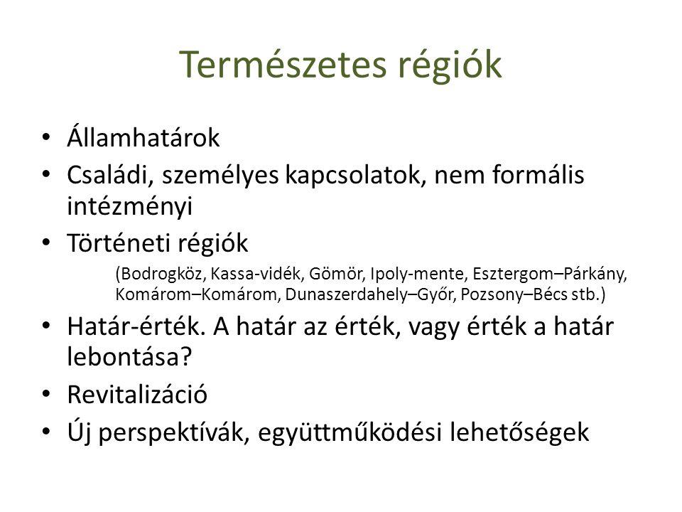 Természetes régiók • Államhatárok • Családi, személyes kapcsolatok, nem formális intézményi • Történeti régiók (Bodrogköz, Kassa-vidék, Gömör, Ipoly-m