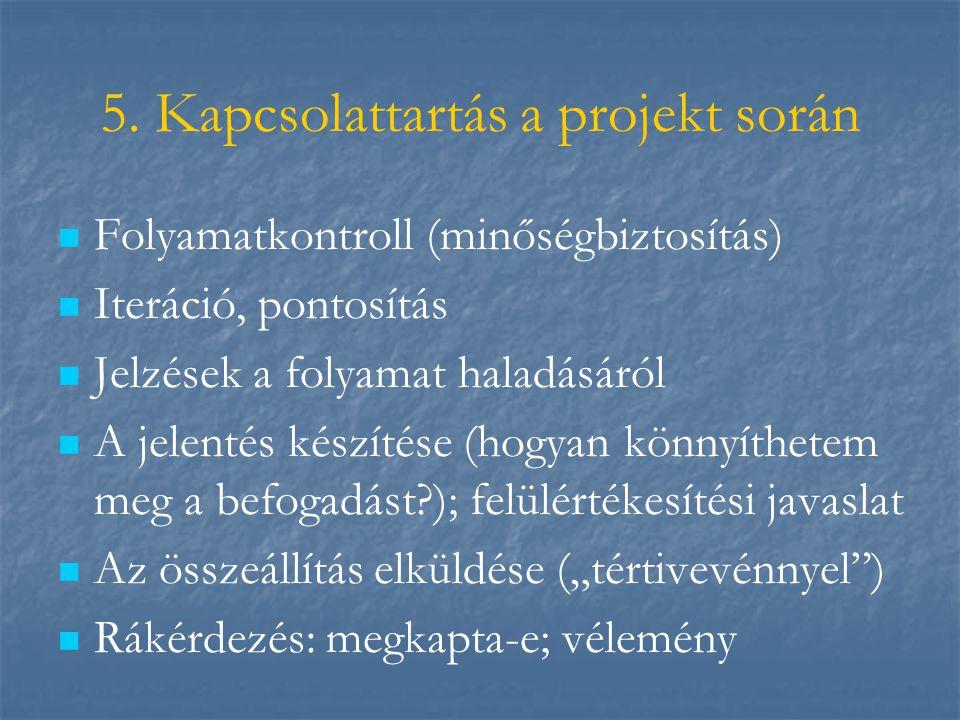 5. Kapcsolattartás a projekt során   Folyamatkontroll (minőségbiztosítás)   Iteráció, pontosítás   Jelzések a folyamat haladásáról   A jelenté