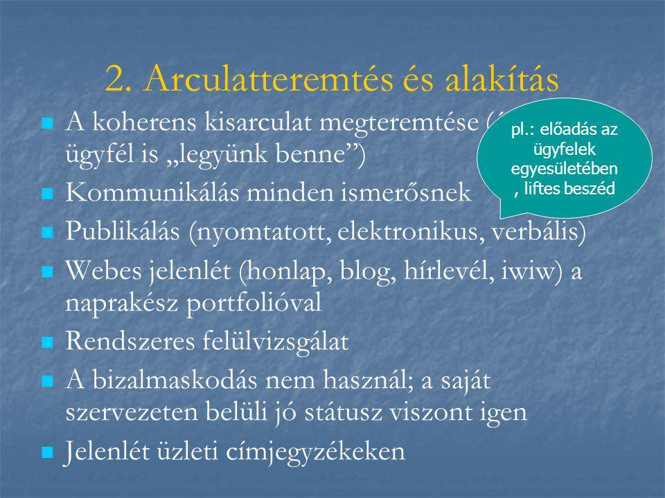 """2. Arculatteremtés és alakítás   A koherens kisarculat megteremtése (én és az ügyfél is """"legyünk benne"""")   Kommunikálás minden ismerősnek   Publ"""