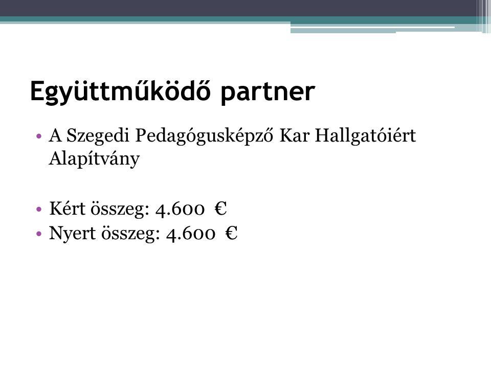 Együttműködő partner •A Szegedi Pedagógusképző Kar Hallgatóiért Alapítvány •Kért összeg: 4.600 € •Nyert összeg: 4.600 €