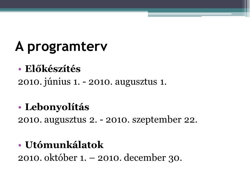 A programterv •Előkészítés 2010. június 1. - 2010.