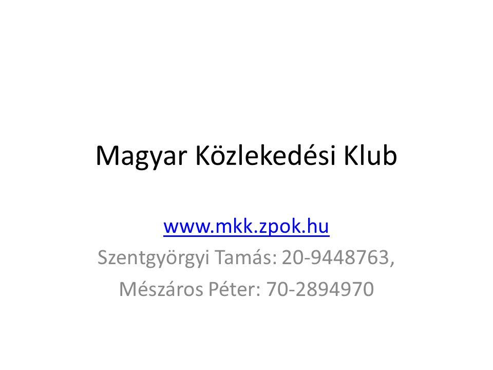 Magyar Közlekedési Klub www.mkk.zpok.hu Szentgyörgyi Tamás: 20-9448763, Mészáros Péter: 70-2894970
