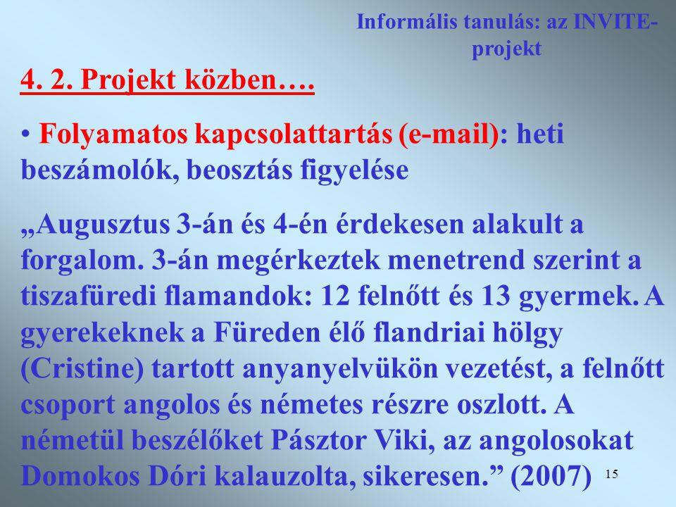 15 Informális tanulás: az INVITE- projekt 4. 2. Projekt közben….