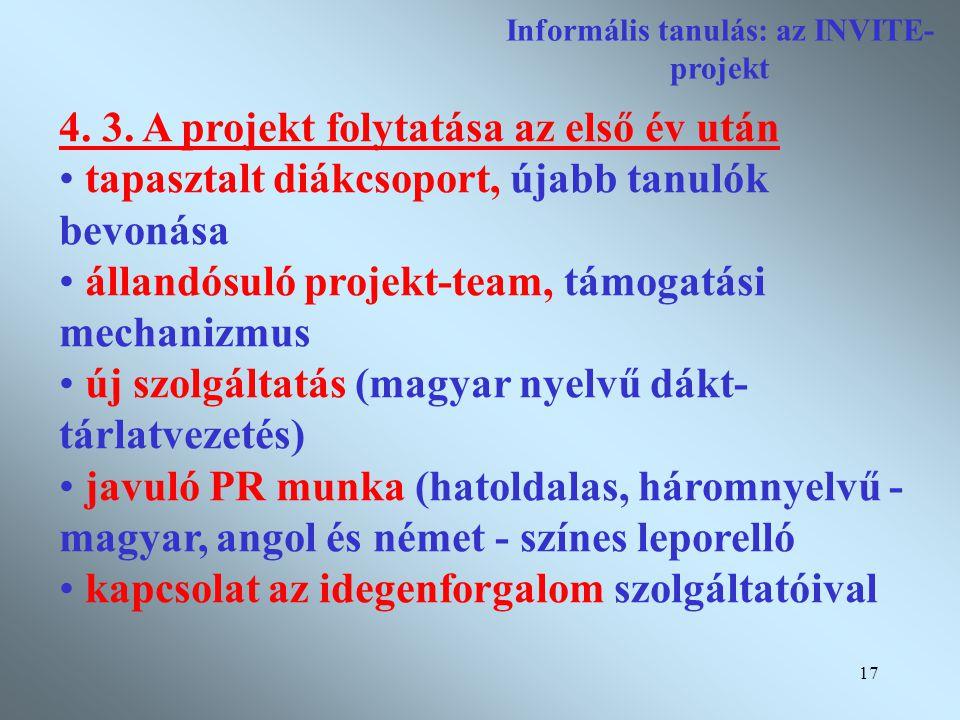 17 Informális tanulás: az INVITE- projekt 4. 3.