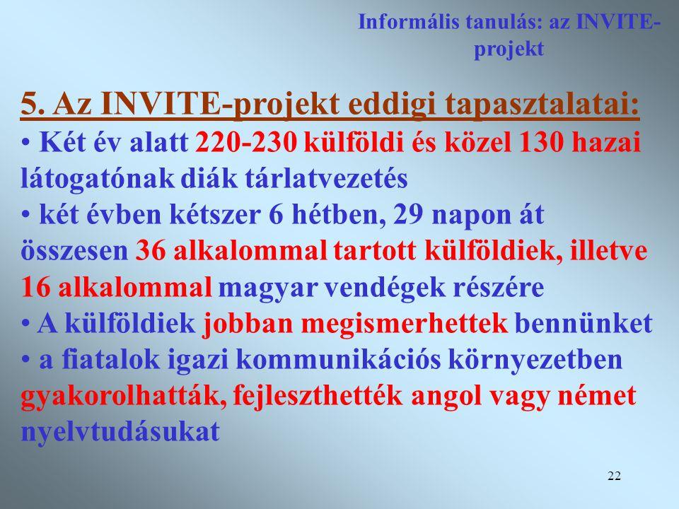 22 Informális tanulás: az INVITE- projekt 5.