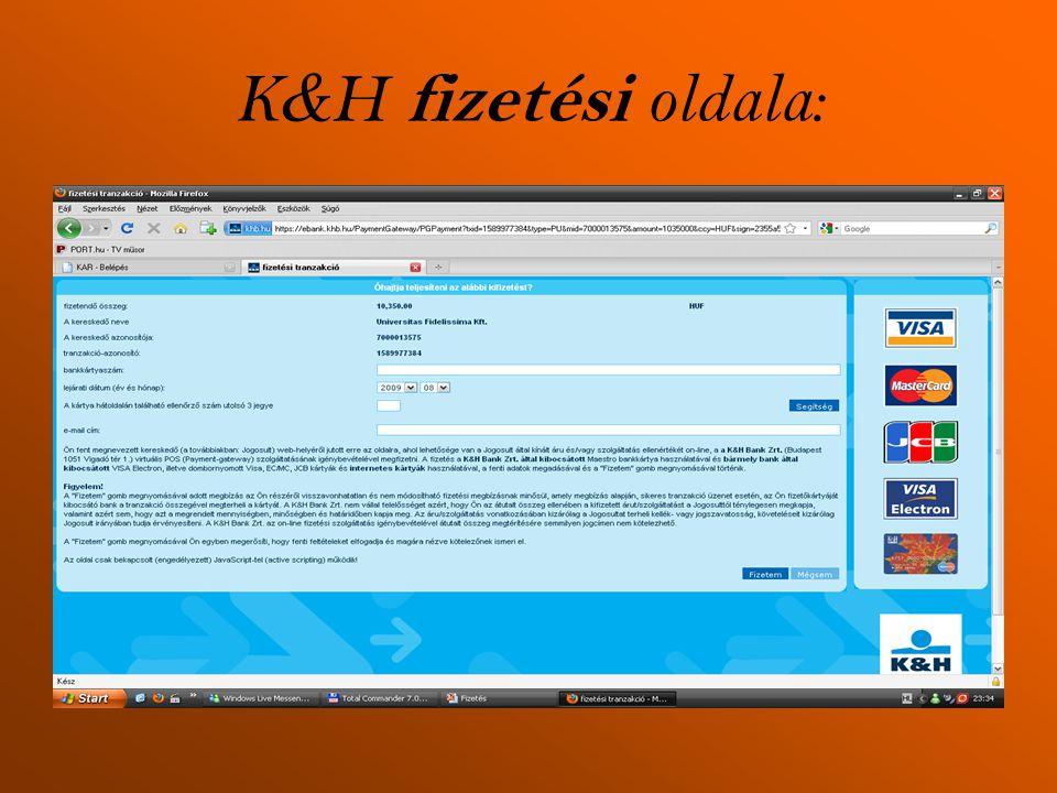 K & H fizetési oldala: