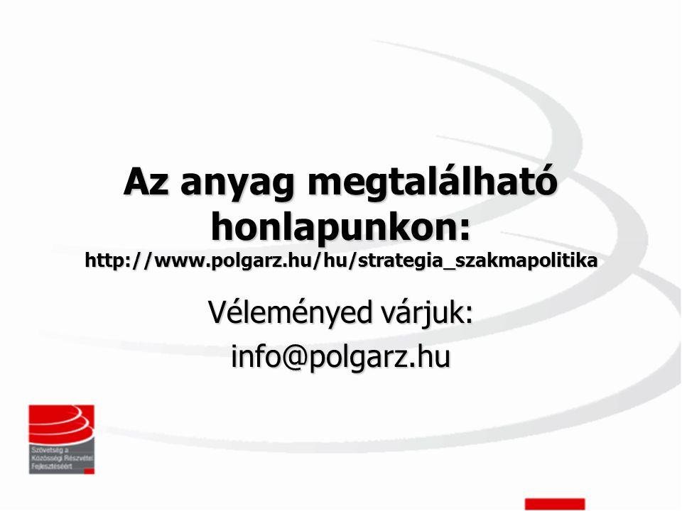 Az anyag megtalálható honlapunkon: http://www.polgarz.hu/hu/strategia_szakmapolitika Véleményed várjuk: info@polgarz.hu