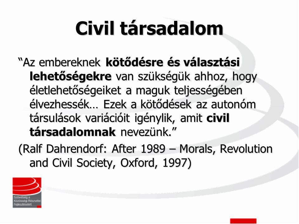 Civil társadalom Az embereknek kötődésre és választási lehetőségekre van szükségük ahhoz, hogy életlehetőségeiket a maguk teljességében élvezhessék… Ezek a kötődések az autonóm társulások variációit igénylik, amit civil társadalomnak nevezünk. (Ralf Dahrendorf: After 1989 – Morals, Revolution and Civil Society, Oxford, 1997)