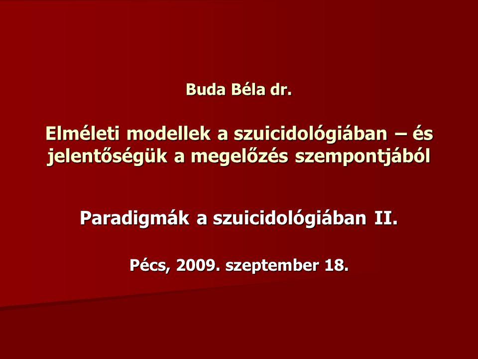 Buda Béla dr. Elméleti modellek a szuicidológiában – és jelentőségük a megelőzés szempontjából Paradigmák a szuicidológiában II. Pécs, 2009. szeptembe